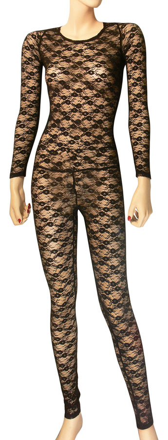 Lace Bodystocking Unitard with Back Zipper