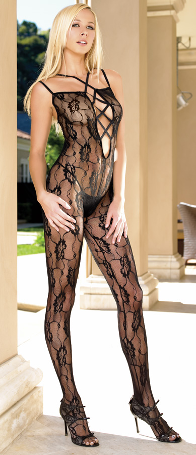 Flower Lace Criss Cross Front Bodystocking