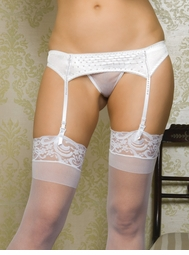 Satin Garter Belt with Hand Sewn Pearls and Train Back