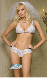Floral Lace Bra and Crotchless Panty with Bow Back
