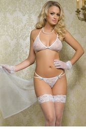 Lace Top and G-string with Chiffon Train