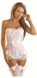 Flocked Polka Dot Underwire Corset