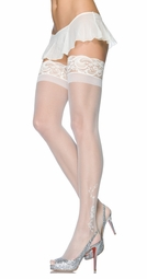 Sheer Stay Up Thigh High Stockings with Floral and Crystal Accent