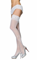 Sheer Stay Up Thigh Highs with Flower and Crystal Accents