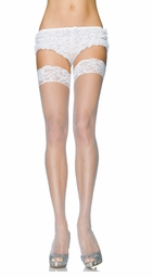 Luxe Stay Up Lace Top Micro Fishnet Thigh Highs