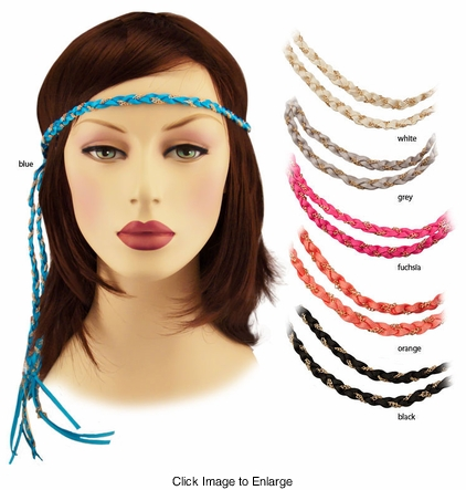 Braided Ribbon and Chain Headband