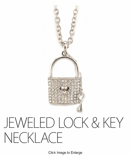 Large Jeweled Lock Necklace