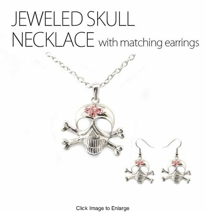 Large Jeweled Skull Necklace with Matching Earrings