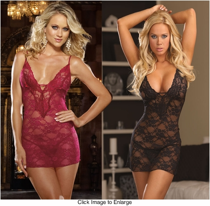 Glamour Lace Mini Dress with Thong in Raspberry