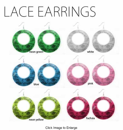 Lace Print Acrylic Earrings