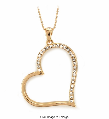 Gold Tone Heart Necklace