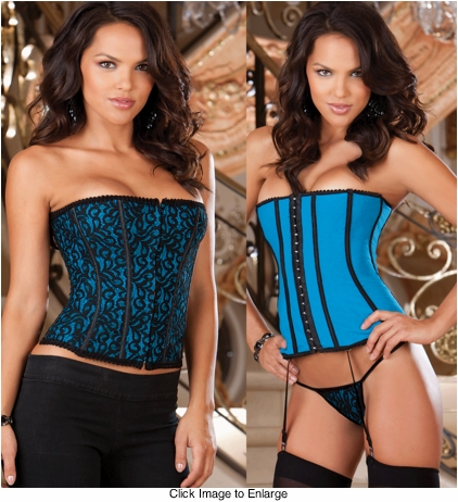 Reversible Blue/Black Lace and Satin Corset, Thong and Stockings