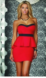 Red and Black Peplum Dress