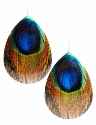 "4"" Long Metal Earrings with Peacock Feather Print"