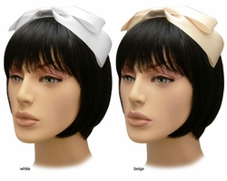 Luxe Satin Bow Headband in White and Beige