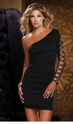 Black Mini Dress with One Sleeve Design
