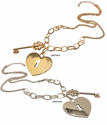 Key and Heart with Keyhole Necklace