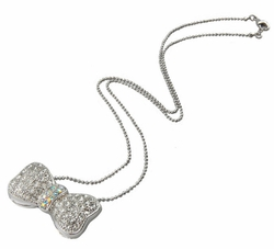 "1.15"" Wide Jeweled Bow Necklace"