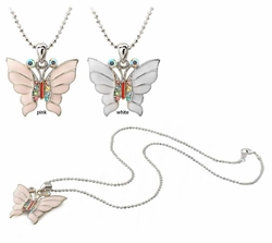 "1"" Enamel and Crystal Butterfly Necklace"
