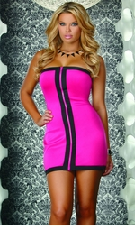 Pink Dress with Contrast Front Zipper
