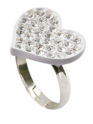"0.75"" White Heart Ring"