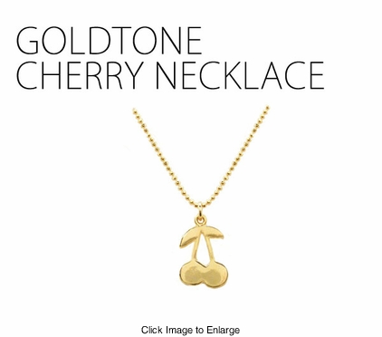 Gold Tone Cherry Necklace