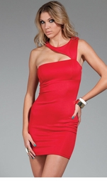 Halle Asymmetric Dress in Red