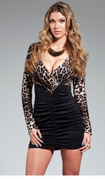 Noelle Dress with Leopard Sleeves and Black Shirred Skirt