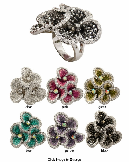 Pave Crystal Flower Ring with Jeweled Center