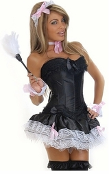 6-Piece French Maid Corset Costume