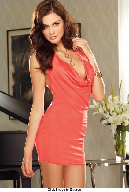 Coral Halter Dress with Open Back