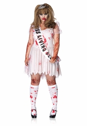Plus Size 3-Piece Zombie Prom Queen Costume