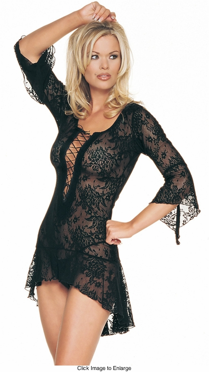 Lace Mini Dress With Asymmetric Skirt