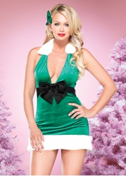 Holiday Harmony Halter Dress with Bow