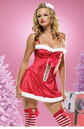 Plush Velvet Santa's Helper Mini Dress with Lace up Front
