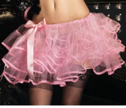 Pink Layered Tulle Petticoat with Satin Bow