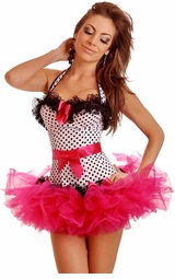Rockabilly Polka Dot Corset & Pettiskirt