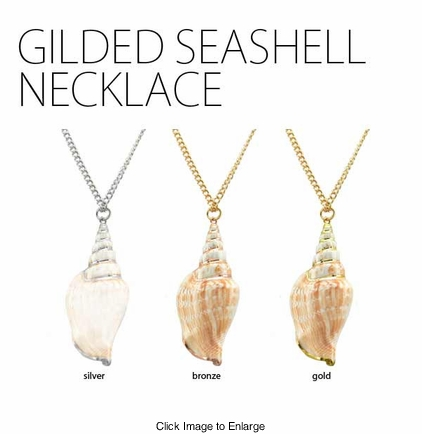 Long Nautical Gilded Seashell Necklace