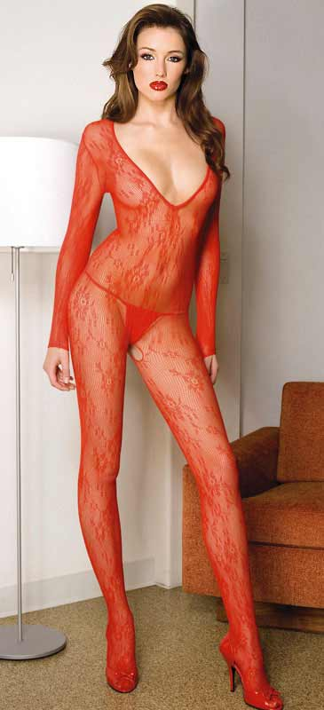 Long Sleeve Flower Lace Bodystocking