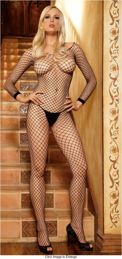 Long Sleeve Industrial Fishnet Bodystockings