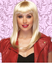 Alluring Shoulder Length Wig with Full Bangs in Blonde