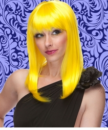 Alluring Shoulder Length Wig with Full Bangs in Sunburst Yellow