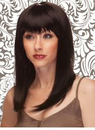 Alluring Shoulder Length Wig with Full Bangs in Onyx Black