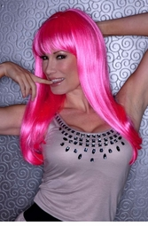 Straight Long Kelly Wig with Full Bangs in Pink Explosion