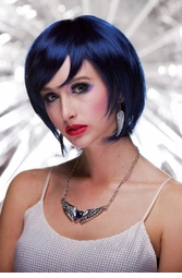 Razor Cut Bob Wig With Bangs in Midnight Blue