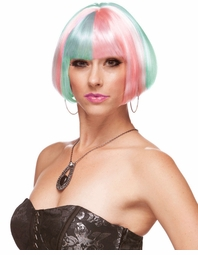 Mini Bob Wig in Angel's Pink, Blue and White