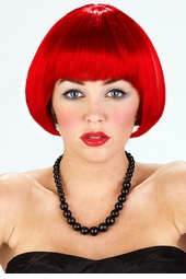 Mini Bob Wig in Dark Red