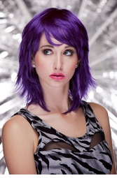 Purple Shoulder Length Wig