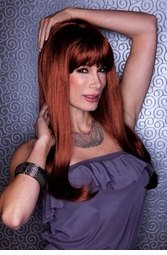 Straight Long Kelly Wig with Full Bangs in Sultry Cognac