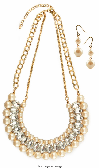 """18"""" Pearl and Crystal Necklace"""